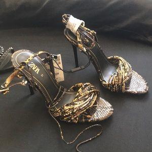 Snake Print Heeled Sandals